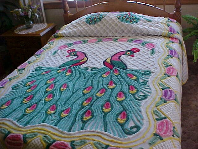 50's Vintage double peacock chenille bedspread  86X102 inches. $295.00, via Etsy.