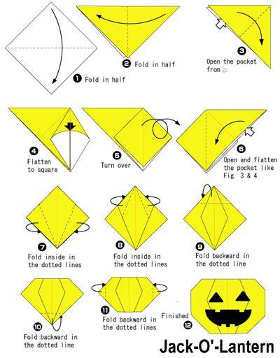 origami d halloween jack-o-lantern citrouille