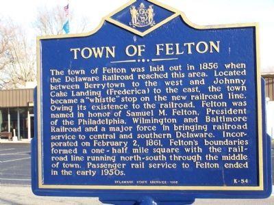 Town of Felton Marker. Click for full size.