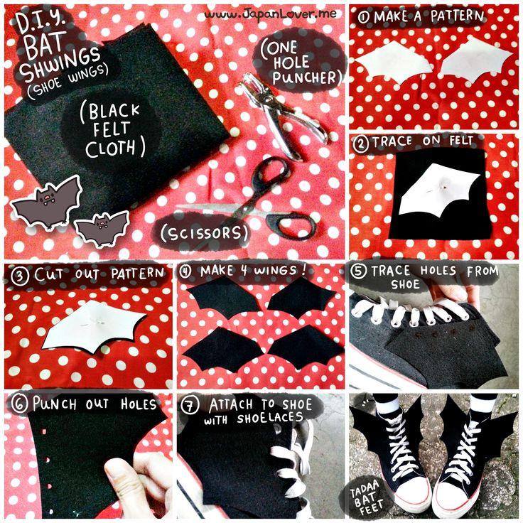"""Here's something to complete your Halloween """"Casual Koumori (Bat) Look""""! °˖ ✧◝(○ ヮ ○)◜✧˖ ° D.I.Y. Bat Shwings (Shoe Wings) which you can attach to your shoes using your shoelaces!   Tip: You may also try this on pastel-colored felt fabrics to achieve a kawaii pastel-kei style!"""