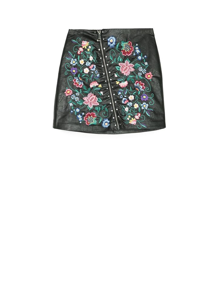 Embroidered faux leather skirt - Shirts   Stradivarius Hungary