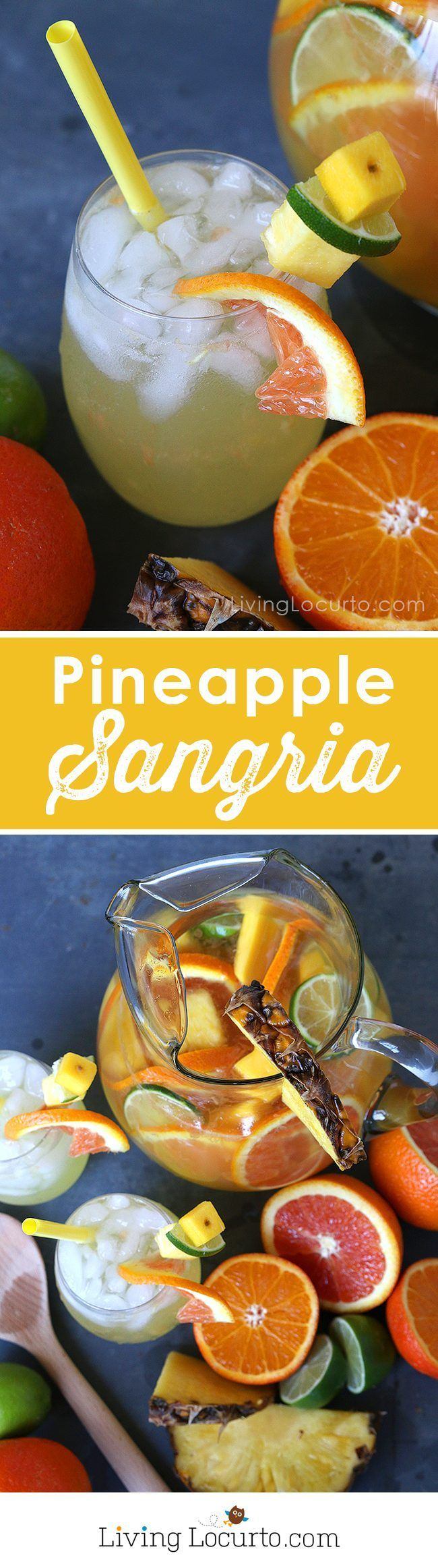 Put a tropical twist on the traditional white sangria with this fruity Pineapple Sangria recipe. A perfect drink for a luau party or sipping by the pool. A cocktail that makes you feel like you're at the beach! Better than a pina colada! http://LivingLocurto.com