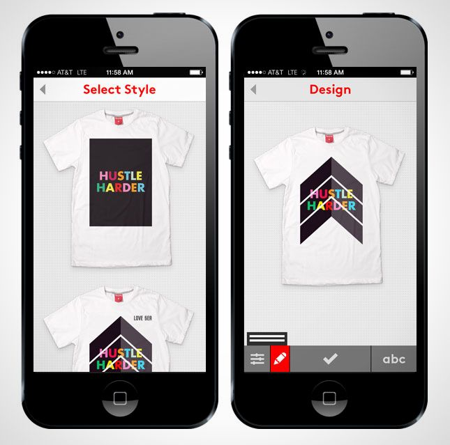 Design custom tees from your phone with the Snaptee app.