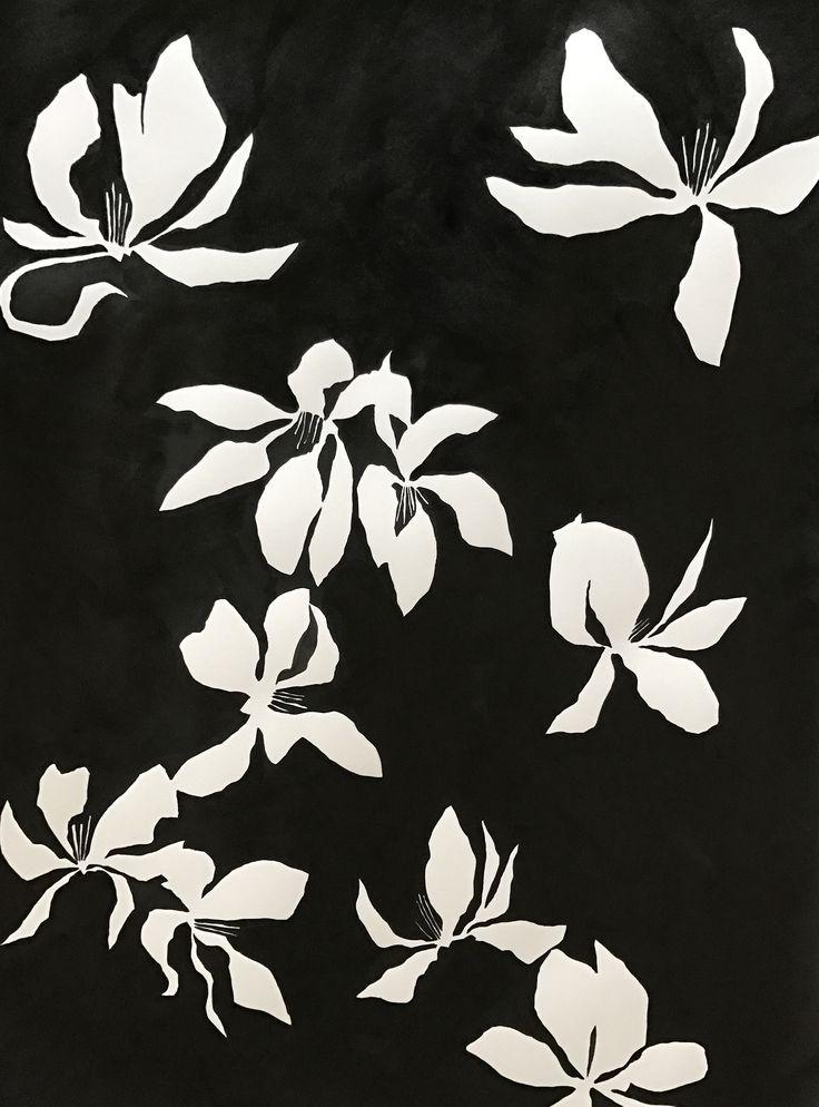Tulip magnolia India ink by Susan Hable