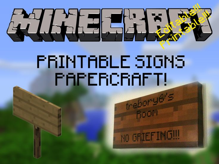 Customizable, Printable, Minecraft Signs! by ~trebory6 on deviantART