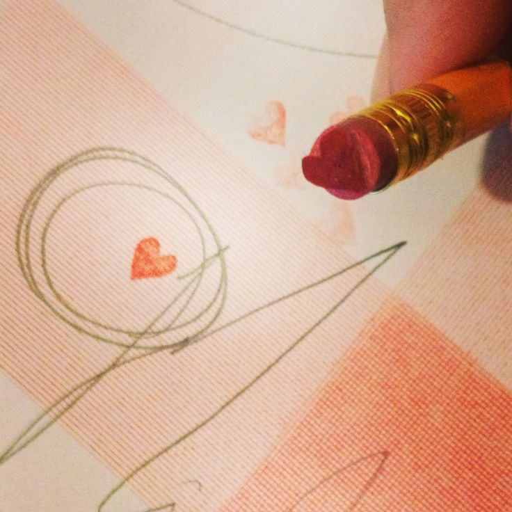 little heart stamp on a pencil....