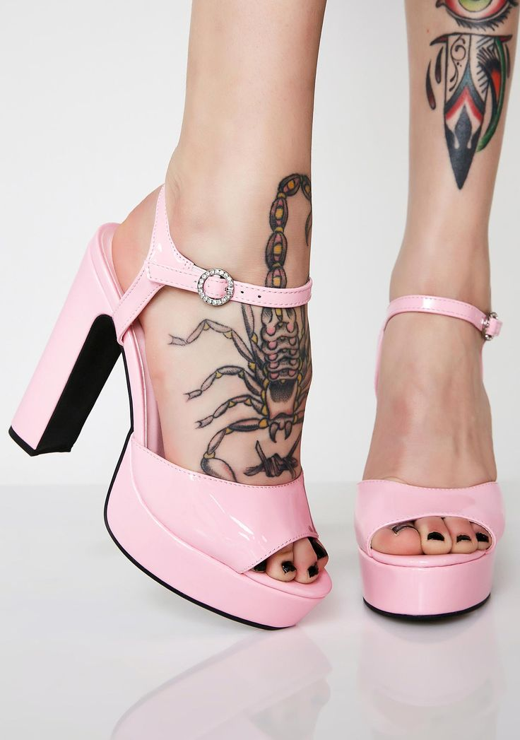 Sugar Thrillz Pretty Princess Platform Heels and you're ready to be queen. These baby pink heels have platform soles, chunky heels, and adjustable ankle straps.