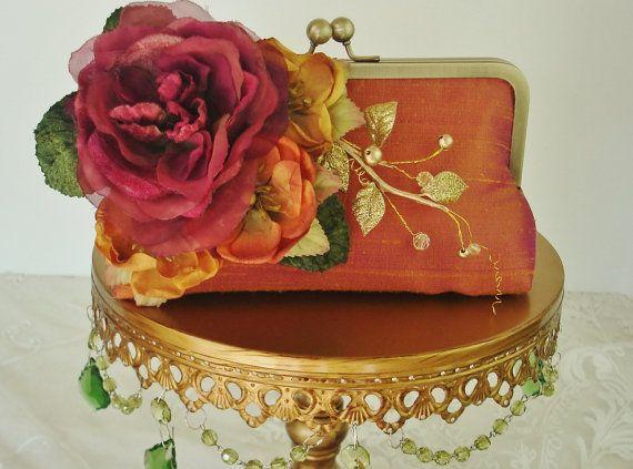 Orange / Bridesmaid Gift // Vintage FLowers / by Petite Vintage Bags,