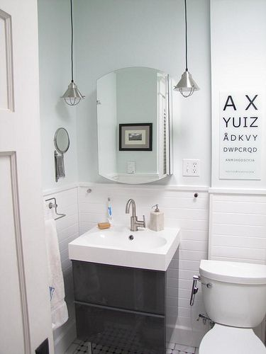 Ikea vanity in grey lacquer note mini pendants like mine ikea bathroom vanity lighting - Ikea bathroom tiles ...