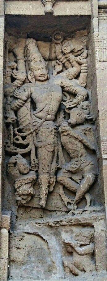 """Lord Shiva as Natraj Dancing with Nandi, the Bull"", Kailashnath Temple at Kanchipuram.  Pallava Dynasty. 7th Century CE. Tamil Nadu, India,"