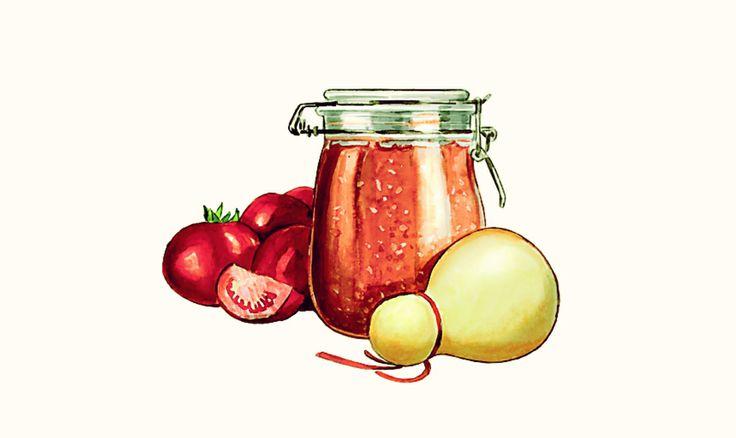 Pomodori in confettura. 3 kg di pomodori maturi, 1 kg di zucchero, scorza grattugiata di 1 limone, rhum. Lavate e fate a pezzi i pomodori, metteteli in pentola scoperta e bollite pianissimo. Una volta ridotti a metà del volume passateli al passatutto, rimetteteli in pentola, con la scorza del limone e lo zucchero. Cuocete. Mettete un cucchiaino di composta su un piatto inclinato. Se non scivola via è pronta! A fine cottura aggiungete il rhum. Buonissima con caciocavallo e provola.