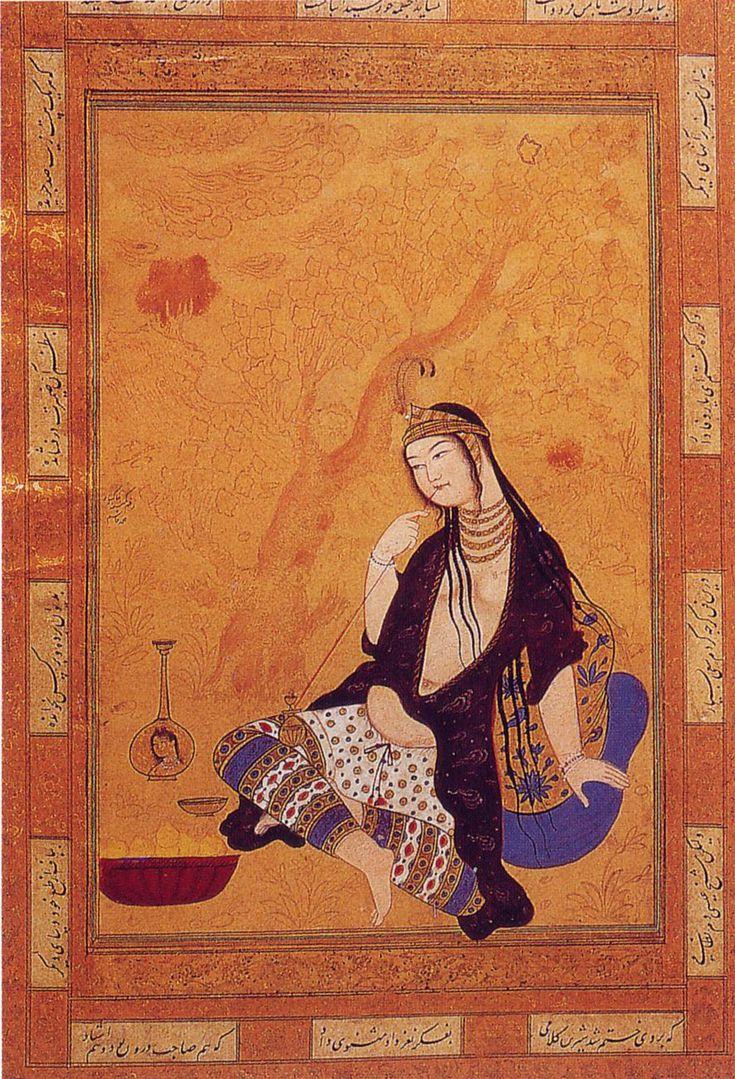 Girl smoking, Muhammad Qasim, Isfahan Persian Colored Gomlek, great salwar  mid. 17th cent. Topkapi Saray Museum, pl. 124