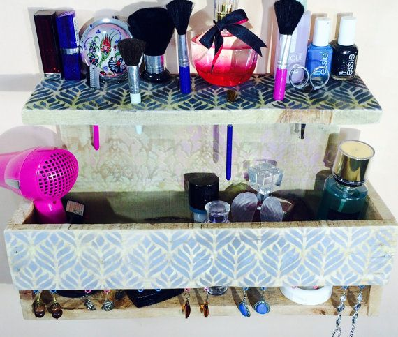 Makeup organizer pallet wood hanging shelf wall vanity /floating shelves/ jewelry storage/ reclaimed wood nightstand earring holder hooks