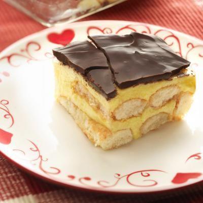 Pudding koek met chocolade