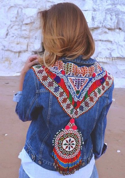 jacket boho customised ethnic bohemian tribal pattern embellished denim denim jacket maluhii embellished jacket