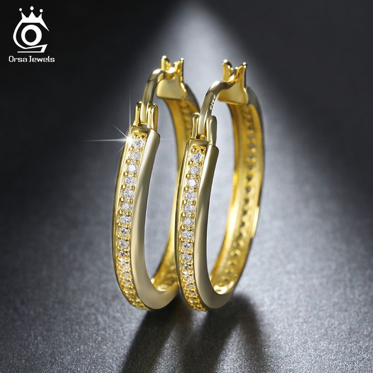 ORSA JEWELS Silver/Rose Gold/Gold Plated Hoop Earrings Paved AAA Austrian Cubic Zirconia for Elegant Women Fashion Jewelry OE140