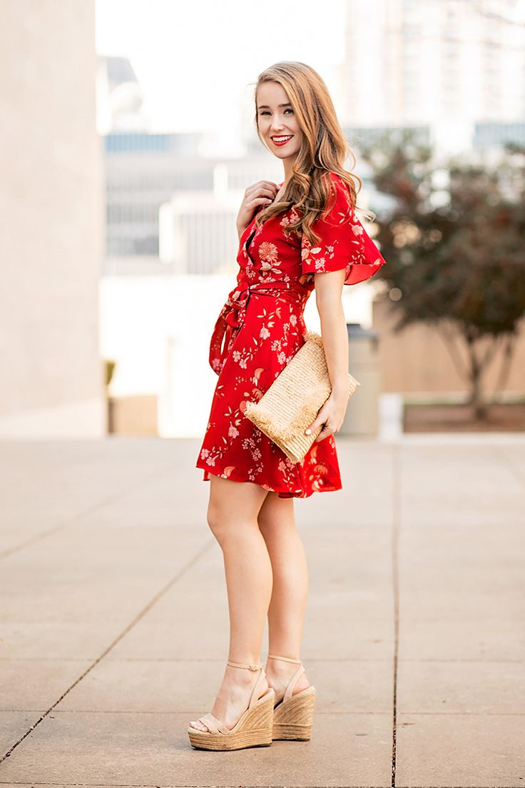 cherry blossom wrap dress | red wrap dress | spring style | spring fashion | styling for spring | warm weather fashion | fashion for spring | how to style a wrap dress || a lonestar state of southern