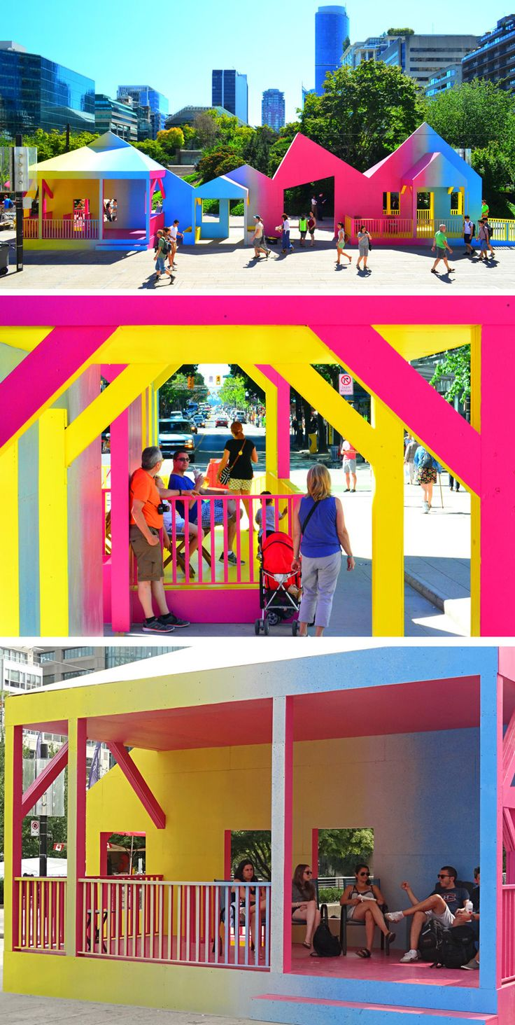 Colorful Porches Line A Pedestrian Space In Downtown Vancouver