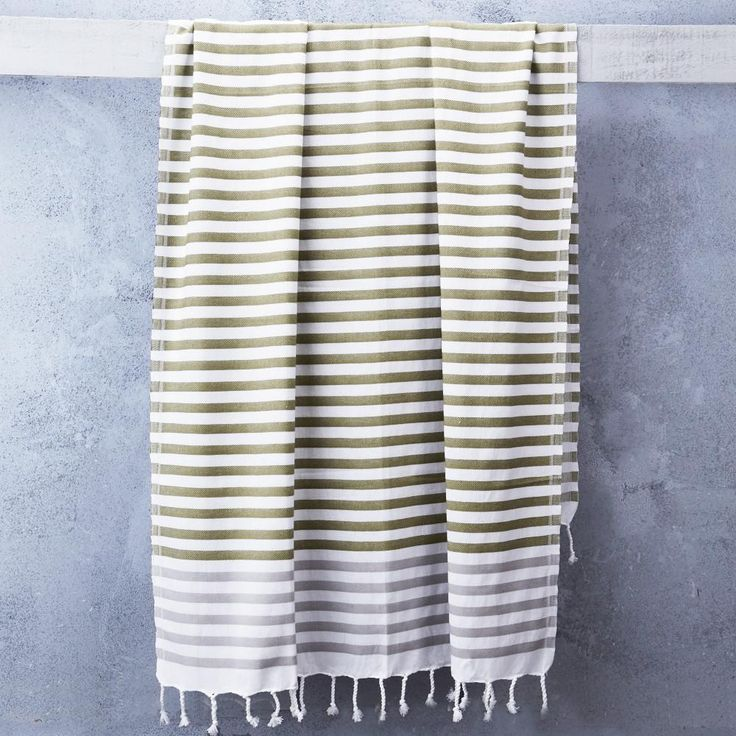 Sheker Towel Candy Stripes in Laurel Green and Grey