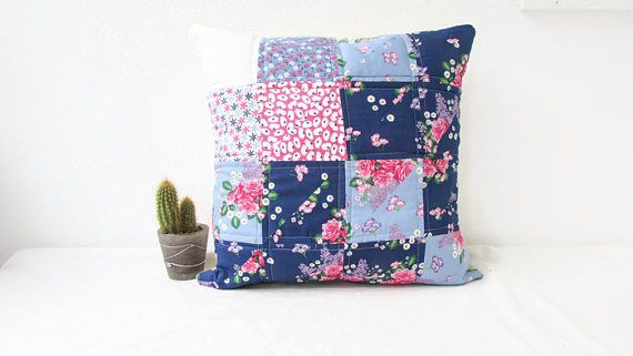 Quilted cushion cover blue and pink cushion cover girls