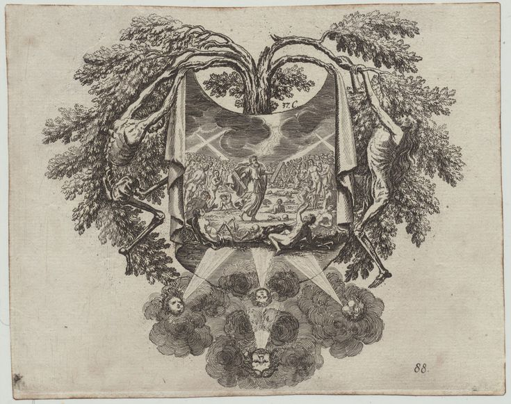 OKKULTA Skelett TOD Original Kupferstich 1700 Moses Religion Gott Gebote Kunst