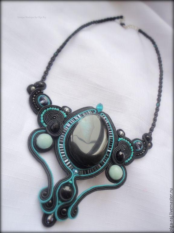 Купить Колье чёрно-бирюзового цвета - морская волна, бирюзовый цвет, мятный цвет, украшение