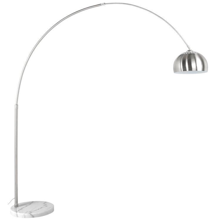 Boogvormige design lamp 'XXL' uit geborsteld staal in retro jaren '70-stijl voor bij de eettafel