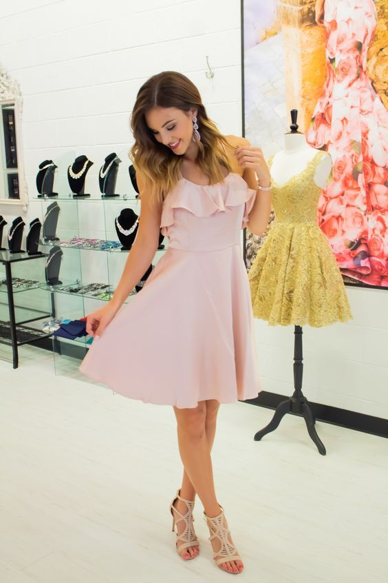 Knee Length Blush Pink Homecoming Dress