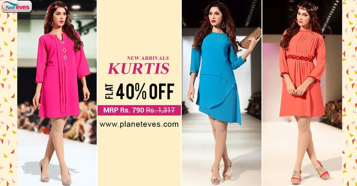 Upto 40% OFF !! #Ethnic #Kurtis Online. Choose the best quality of kurtis Starting for Rs. 790/- from Planeteves.com. Free Home Delivery!!