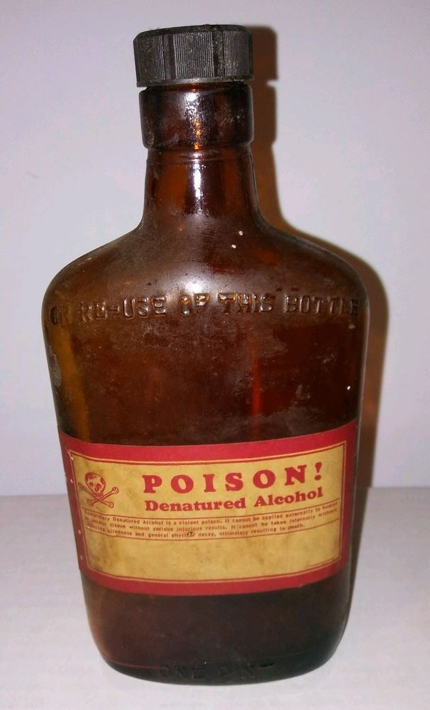 Amber Pint Poison Bottle Ball Denatured Alcohol 1930 s Paper Label