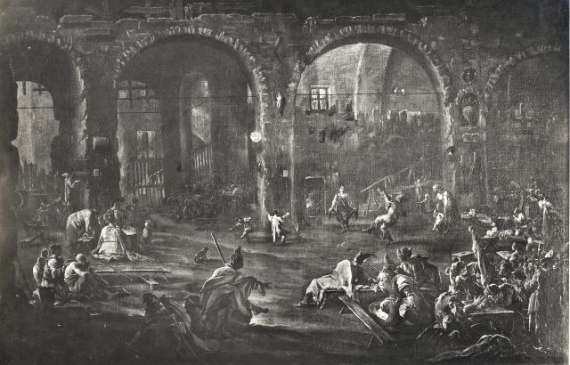 Bassani, Gigi , Magnasco Alessandro - sec. XVII/ XVIII - Interno di osteria con soldati - insieme
