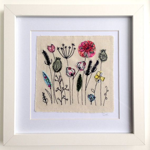 Wildflower meadow framed wall art picture gift, machine embroidered stitched fabric applique. Birthday blank. seed heads, wildlife, nature