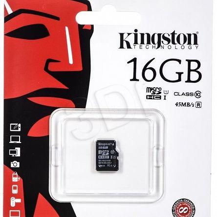 Ogólne:        Kingston micro SDHC SDC10G2/16GBSP 16GB Class 10 pochodzi z oficjalnej polskiej dystrybucji. Jest to oryginalny produkt firmy Kingston - nowy, nieużywany, sprawny technicznie i fabrycznie zapakowany. Stanowi on wysokiej jakości wyrób, jeden z najnowszych modeli tego producenta w grupie Pamięci SecureDigital. Spełnia, określone przez Kingston, parametry techniczne przy zachowaniu ustalonych warunków stosowania. Gwarantuje pełną satysfakcję i zadowolenie z jego u...