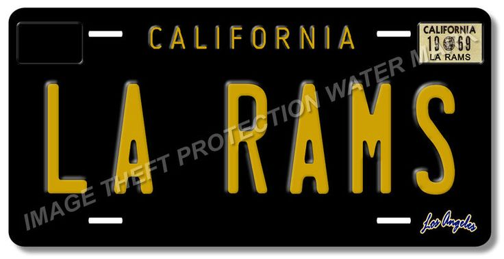 LA RAMS Los Angeles California NFL Football Team Black Vanity License Plate