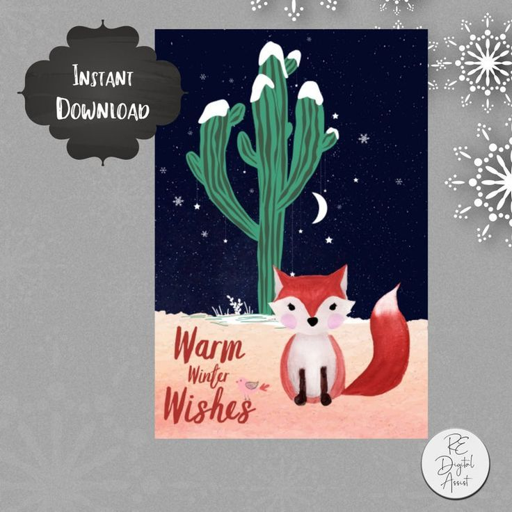 Christmas Cactus Winter Fox Card Front Warm Winter Wishes Desert Fox Postcard Printable Pdf Instant Download 4x6 Hygge Inspired Greetings Holiday Gift Tags Christmas Cactus Cards