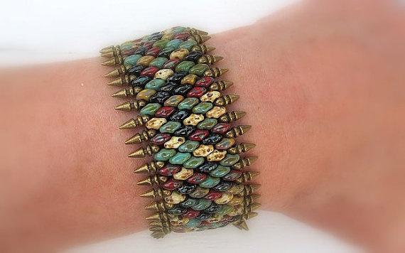Southwestern Spiked Bead Wristband Bracelet  Rustic by DarkRide, $45.00