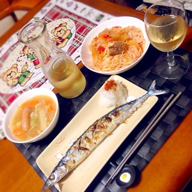 今夜の深夜の晩餐 さんま塩焼き フィリピン風ソーメンチャンプルー(トマトソース) ポトフ 白ワイン - 58件のもぐもぐ - さんま塩焼き by manilalaki