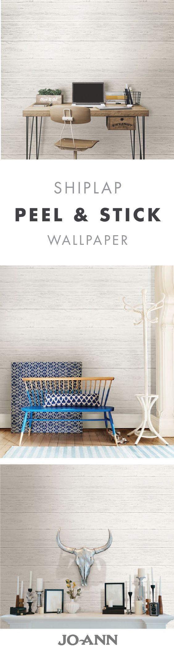 If you love the look of shiplap but don't want to commit to renovating your home—no worries! This Shiplap Peel and Stick Wallpaper gives off the perfect amount of rustic charm while also boasting an easy install.