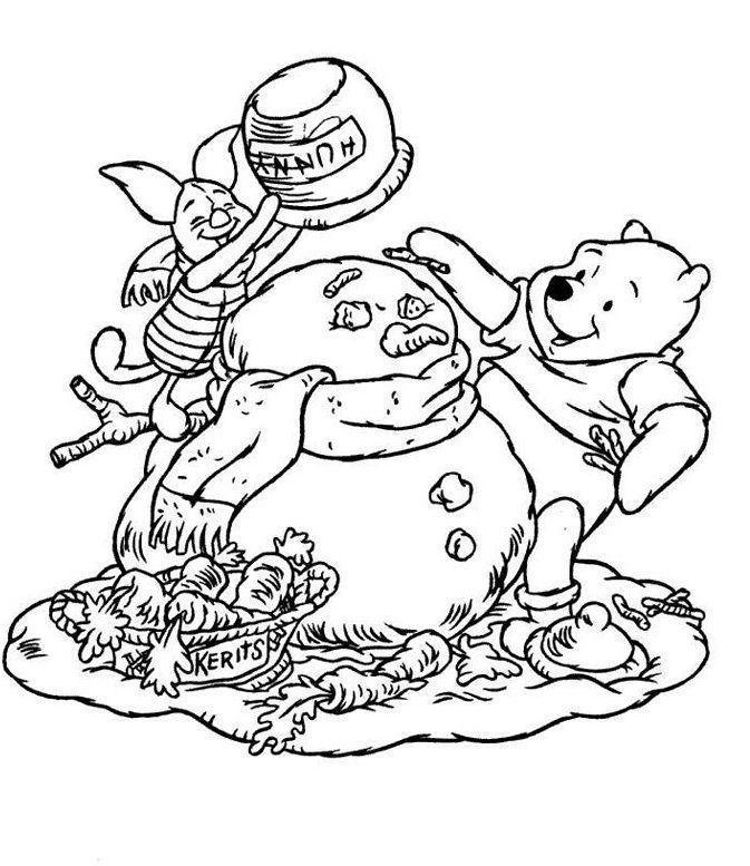 winnie the pooh and piglet make snowman coloring pages for kids printable christmas disney coloring pages for kids - Disney Baby Piglet Coloring Pages