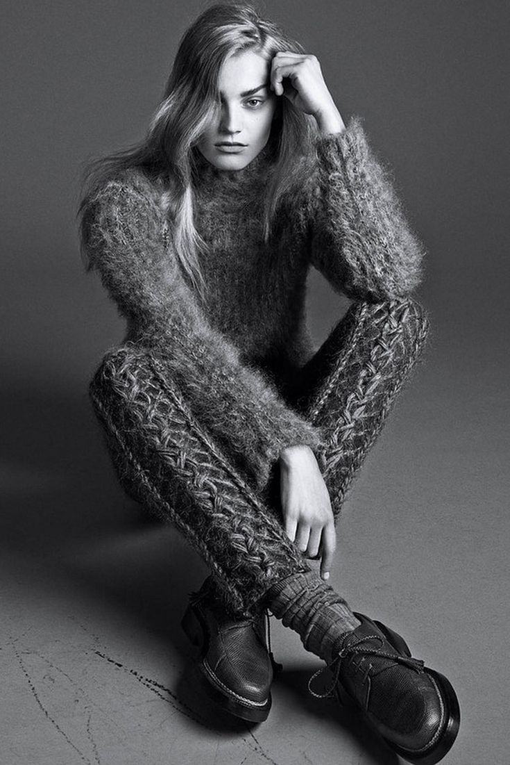 Contemporary Knitwear - knitted leggings & fluffy sweater, luxe knits // Ph. Lachlan Bailey for WSJ