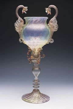The Venice and Murano Glass Company Limited. Giovanni Seguso or Vittorio Zanetti, maker (attribution). TWO-DRAGON VASE. ca. 1877-94. H.18""