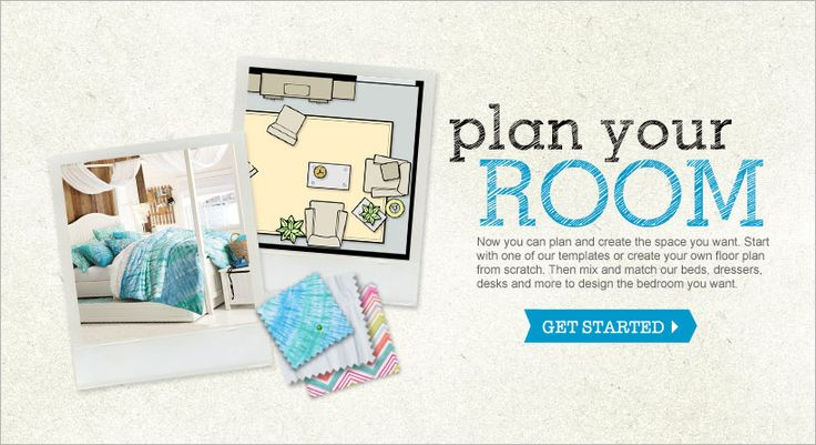 Plan Your Room! Type in the room dimensions and add furniture and other objects to see what the room would look like!