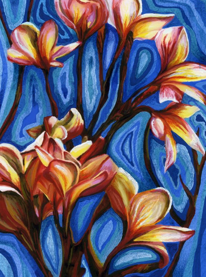 Roz Edwards Tropical Flowers Greetings Card Design