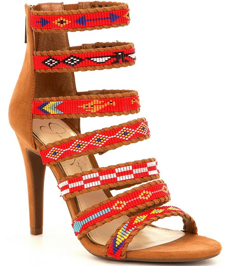 Honey Brown:Jessica Simpson Erienne Strappy Microsuede Embellished Dress Sandals