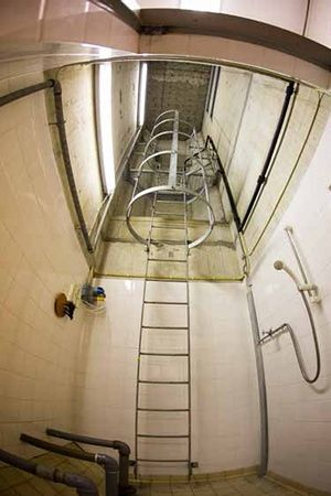 Shower room.Northern Ireland's sole nuclear bunker goes up for sale Heavily fortified underground shelter built to host 235 VIPs in event of Soviet attack has asking price of £575,000