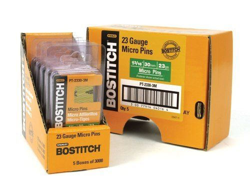 Stanley Bostitch PT-2330-3M 1-3/16-Inch 23 Gauge Pin (3000 per Box) by Stanley Bostitch. $8.10. From the Manufacturer                The Bostitch PT-2330-3M 1-3/16-Inch 23 Gauge Pin are 23 gauge headless pins for use in the Bostitch HP118K and TU-216-2330 Headless Pinners. This 1-3/16-inch chisel point are finish coated and are packaged 3000 per box.                                    Product Description                2750-2798 Features: -Micro pin.-Galvanized.-23 gauge.-1-3/16'...