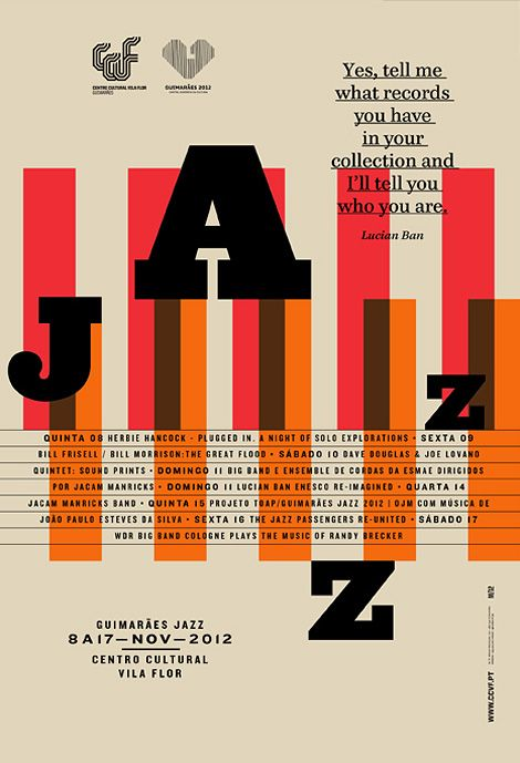 Graphic identity, including a poster series and a book for the 2012 Guimarães Jazz Edition, by Portugal-based graphic design studio Atelier Martinoña (via Guimarães Jazz Edition   iainclaridge.net)