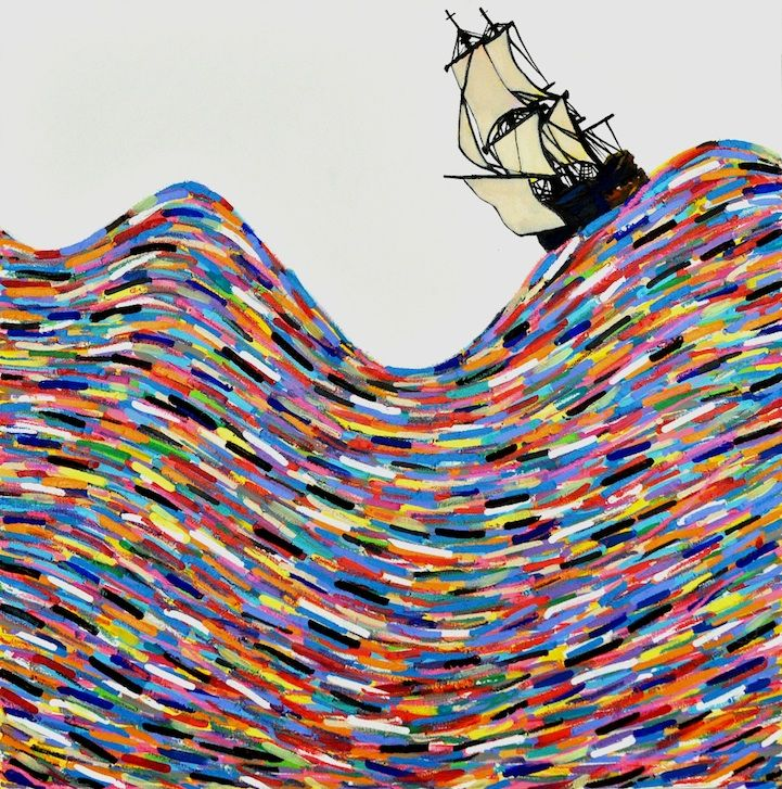 Seafaring stories already swirling through my head. Rainbow Sea Paintings by Joshua Petker.