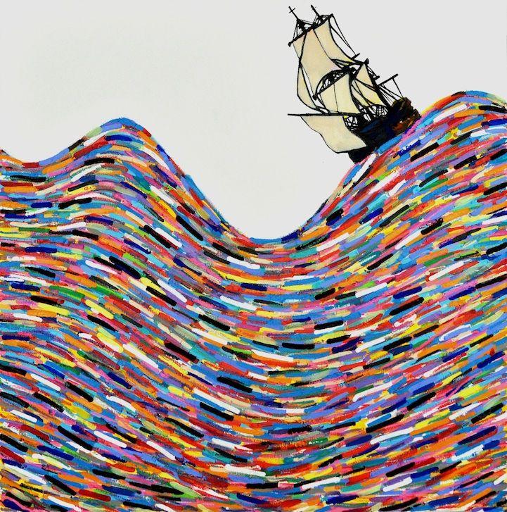 Rainbow-Sea-Paintings-Joshua-Petker02: Joshua Petker, Art Lessons, Joshua Pekter, Art Inspiration, Lebass Projects, Canvas, Paper Strips, Artsy Illustrations, Untitl Sailing