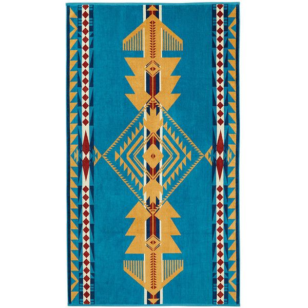 Pendleton Oversized Jacquard Beach Towel - Eagle Gift (105 CAD) ❤ liked on Polyvore featuring home, bed & bath, bath, beach towels, blue, eagles beach towel, cotton beach towels, pendleton, oversized beach towels and jacquard beach towel